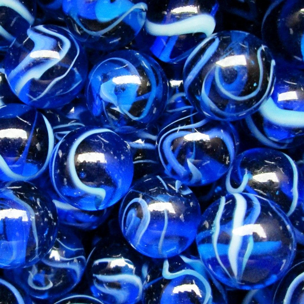 """Unique & Custom {5/8'' Inch} Set Of Approx 200 """"Round"""" Clear Marbles Made of Glass for Filling Vases, Games & Decor w/ Nautical Ocean Wave Swirl Royal Sapphire Tone Design [Blue & White Color]"""
