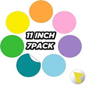 Clever Clean Colorful Dry Erase Circles 7 Pack - Stain-Resistant Self-Adhesive Removable Stickers Dots for Home, School and Office Projects (11 inch 7 PCS)