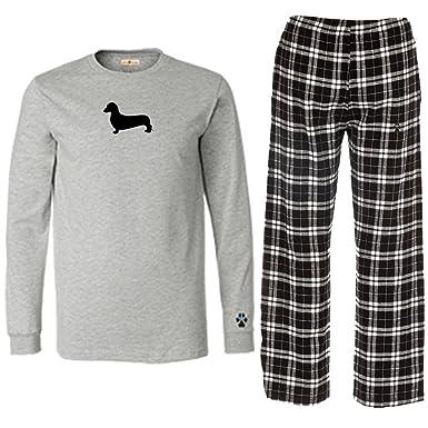 c75bb36ed128 Amazon.com  Dachshund Miniature Mens Flannel Pajamas.  Clothing
