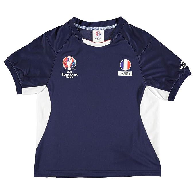 UEFA Niños Euro 2016 Francia Poly Camiseta Junior Niño Fútbol manga corta Top azul Small