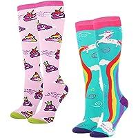 Women's Girls Novelty Over Calf Knee High Socks Funny Crazy Rainbow Unicorn Nurse Alpaca Flag Poop Emoji Boot Socks