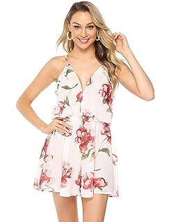 af863643326ff3 Abollria Damen Kurz Overall mit Blumen Print Sexy V Ausschnitt Sommer Jumpsuit  mit Taschen Casual Leicht