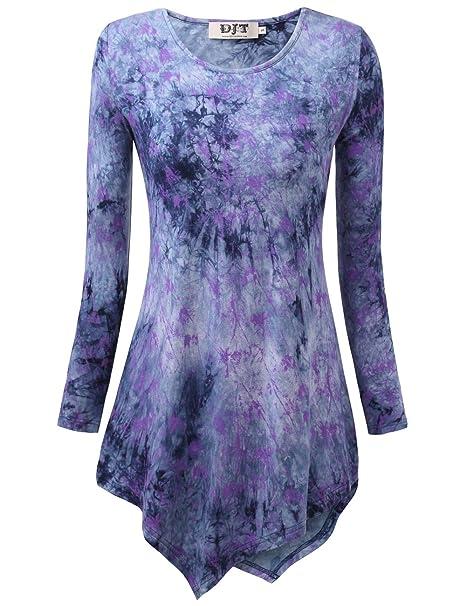DJT Mujeres Asimetrica Camisa Blusa de Manga Larga Estilo Elastico Tunic Shirt tee Azul N6 Medium