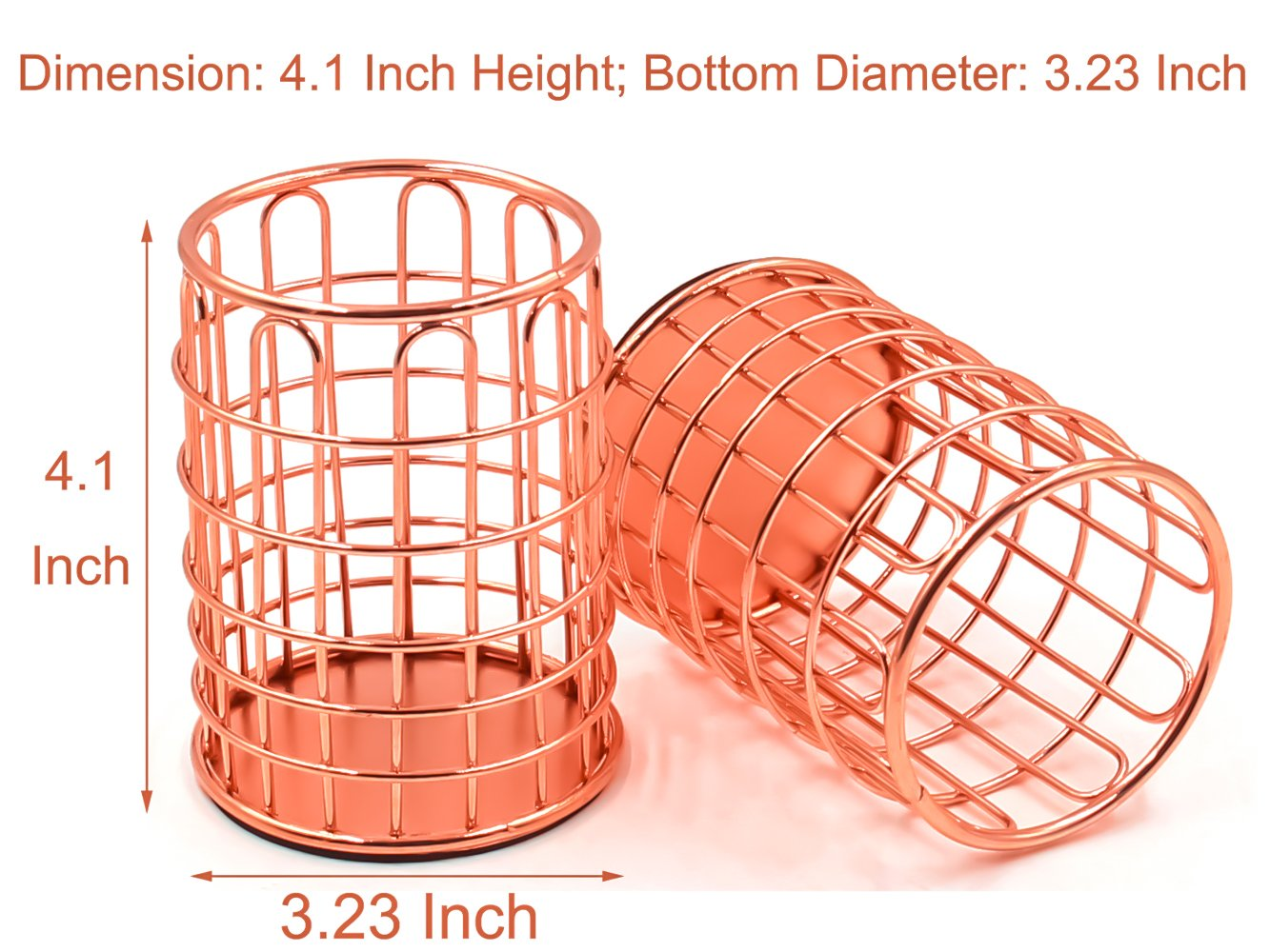 Superbpag Wire Metal Desktop Pencil Holder, Set of 2, Rose Gold by Superbpag (Image #2)