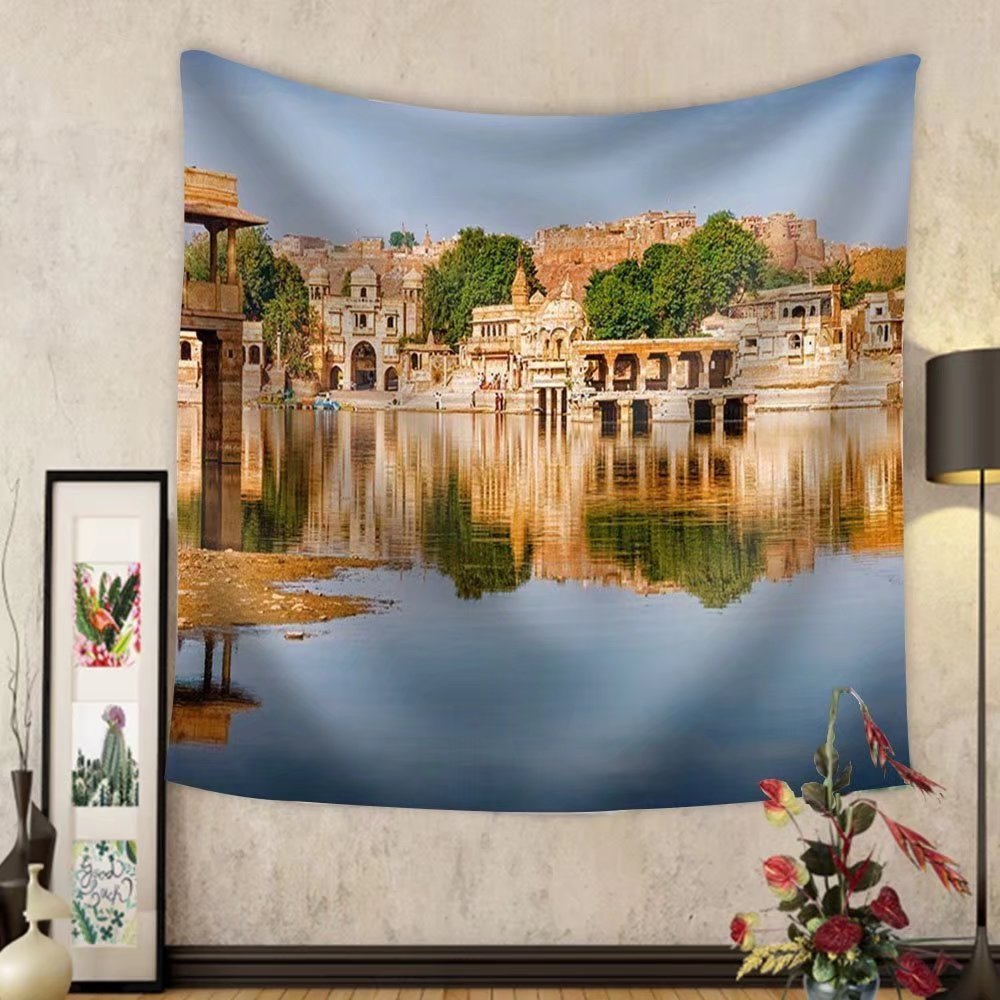 Gzhihine Custom tapestry Gadi Sagar (Gadisar) Lake is One of the Most Important Tourist Attractions in Jaisalmer Rajasthan North India - Fabric Wall Tapestry Home Decor