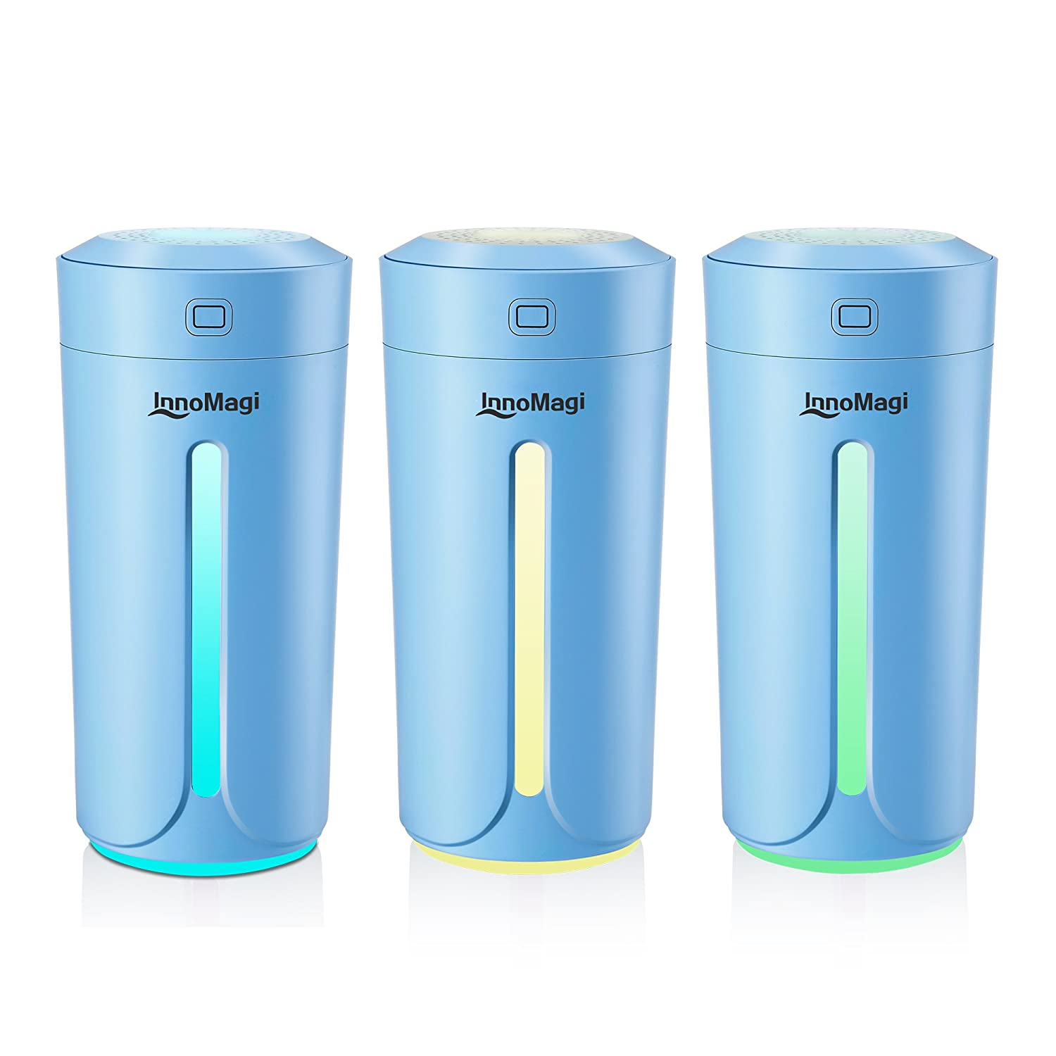 Air Humidifier, Baby Humidifier Best Aroma Diffuser with 7 Colorful Lights, Cool Mist Humidifiers Ultrasonic Aroma Aromatherapy Diffusers for Car, Yoga, Office, Spa, Baby Room - InnoMagi (230ml-Blue)
