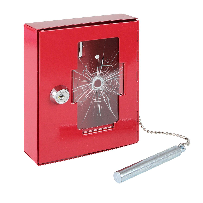HMF - Caja de emergencia para llaves (con martillo para romper el cristal, 15 x 12 x 4 cm), color rojo: Amazon.es: Oficina y papelería