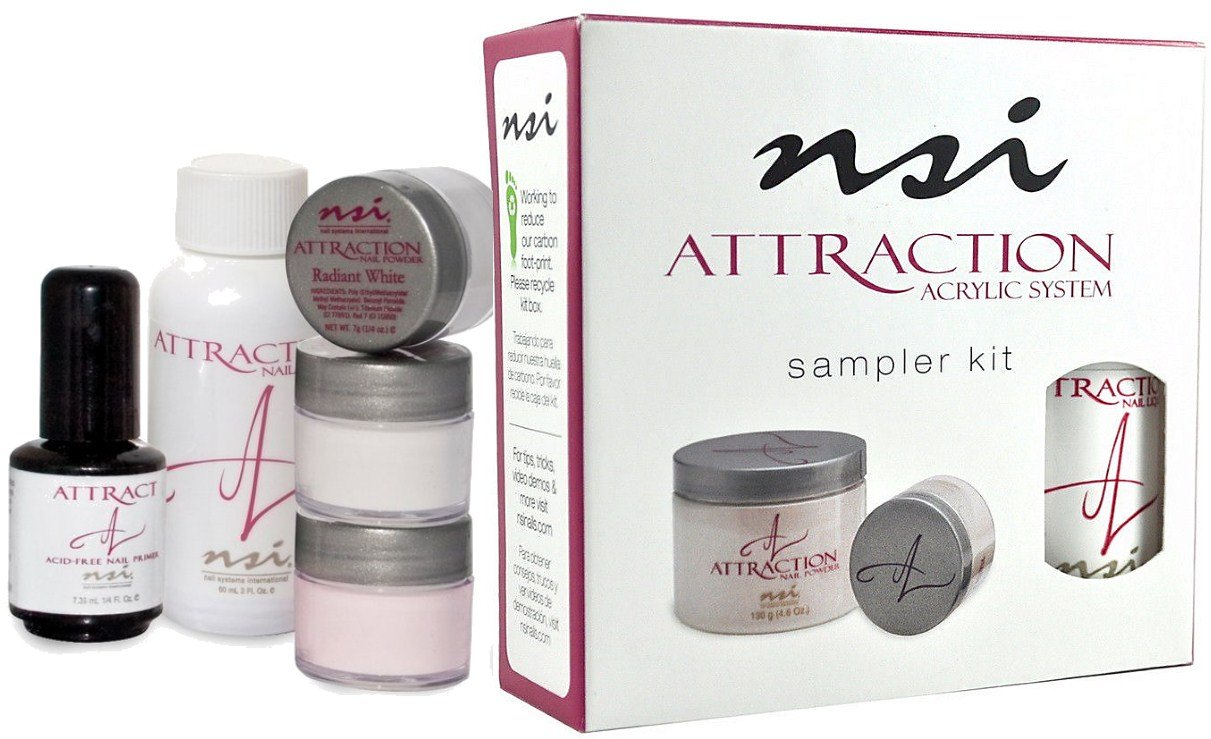 nsi Attraction Nail Acrylic System Sampler Kit (Attraction Nail Liquid, Radiant Pink+White+Totally Clear Nail Powder, Attract (Acid-Free) Primer) USA
