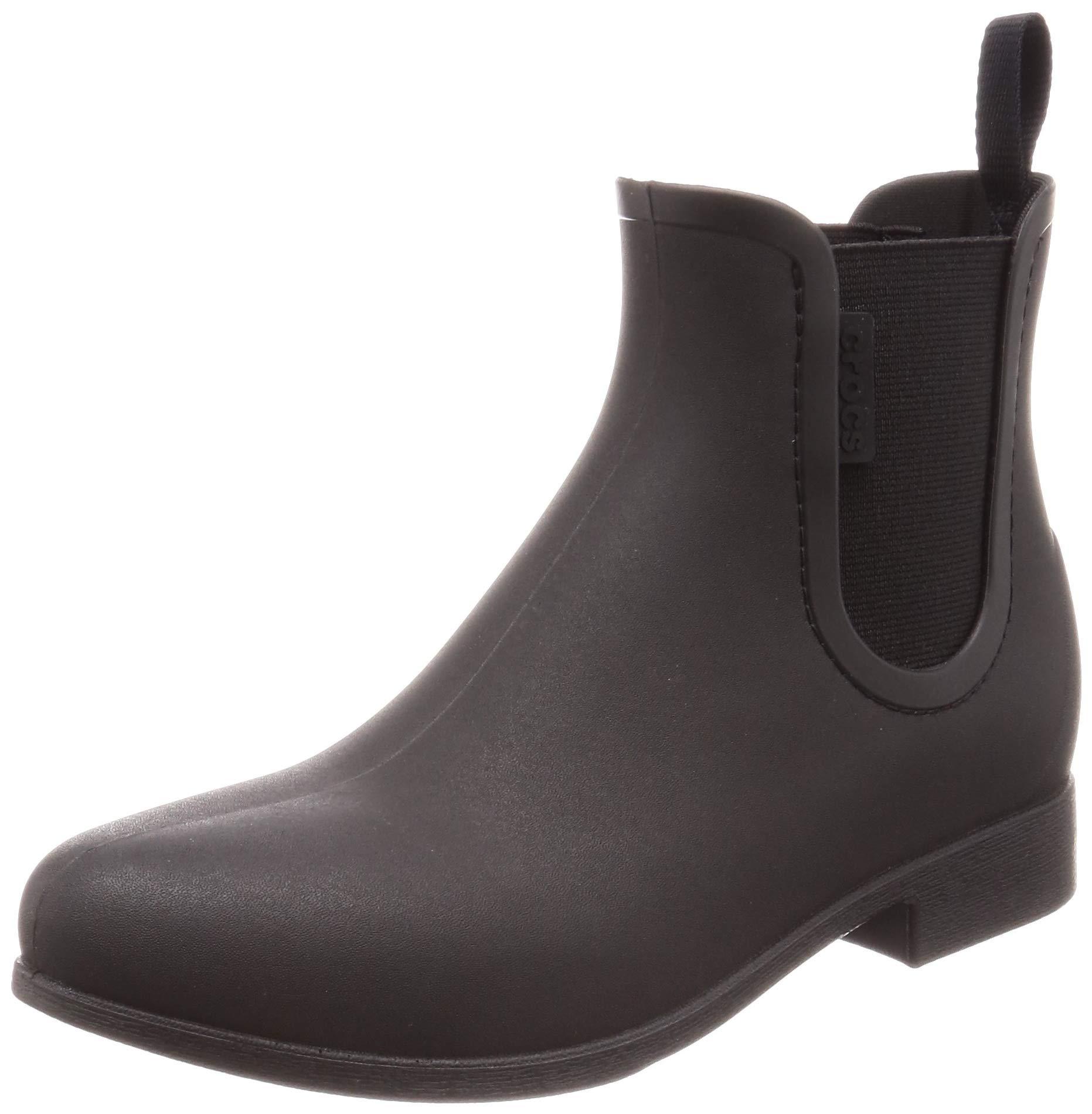 Crocs Women's Leigh Chelsea Rain Boot Black, 10 M US by Crocs