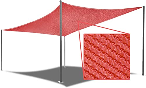 E K Sunrise 10'x 10'Red Rectangle Sun Shade Sail Outdoor Shade Cloth UV Block Fabric,Curve Edge-Customized