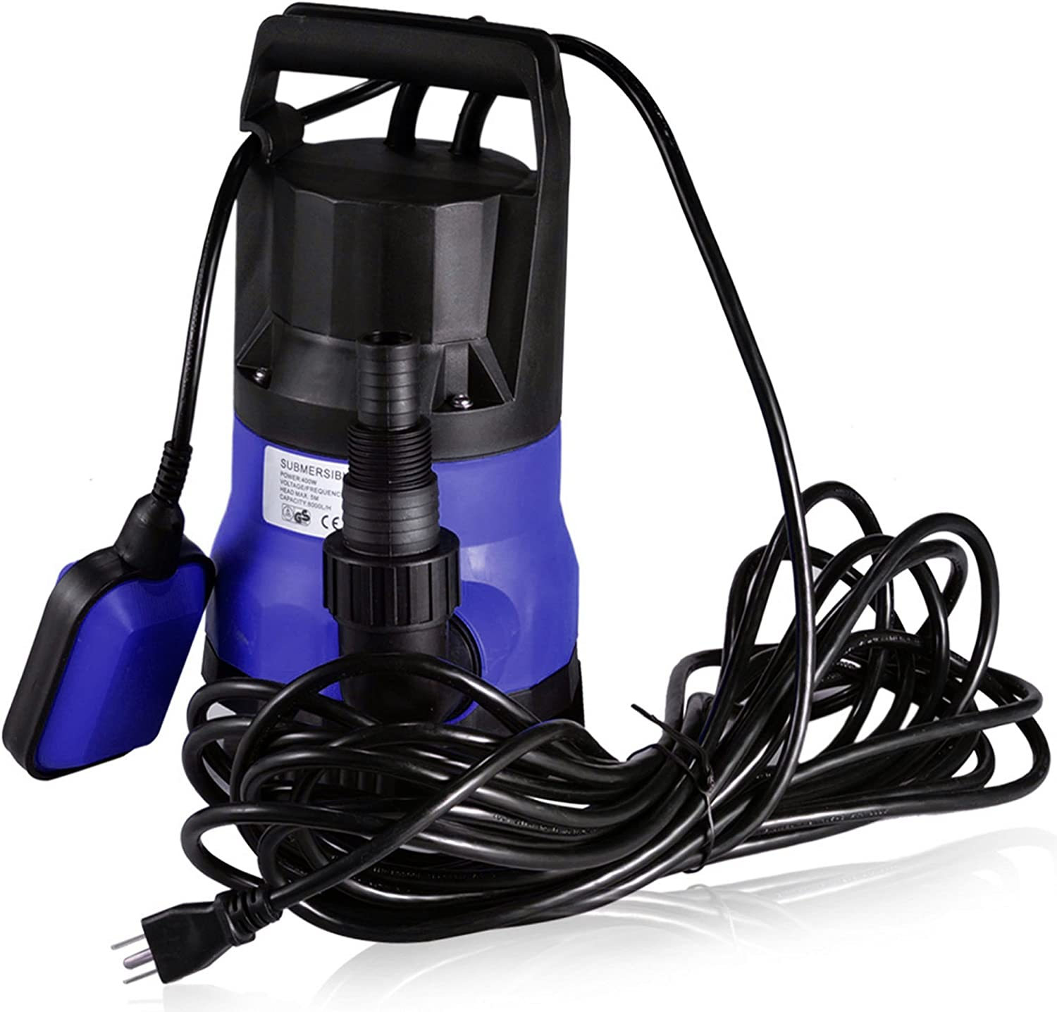 Submersible Water Pump Sump with Float Switch Portable Clean/Dirty (0.5HP, blue)