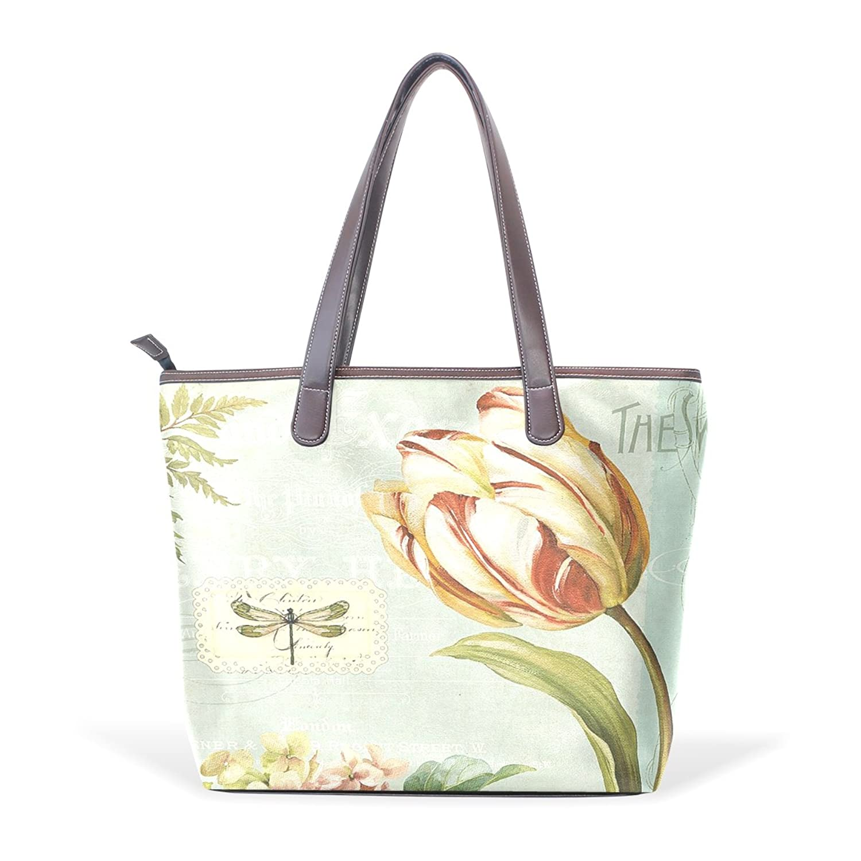 Womens Leather Tote Bag,Vintage Shabby Chic Pink Rose Floral,Large Handbag