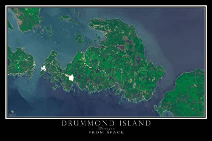 Amazon.com: Drummond Island Michigan Satellite Poster Map L 24 x 36 on
