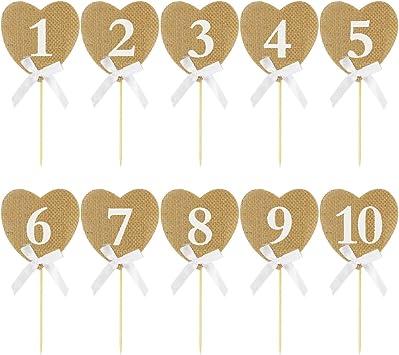 Números de mesa de boda vintage 1 – 10 rústico arpillera corazones ...