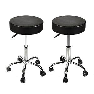 Home Office Adjustable Rolling Medical Massage Swivel Stool Chair Tattoo Facial Massage Salon Stools, Black, Set of 2