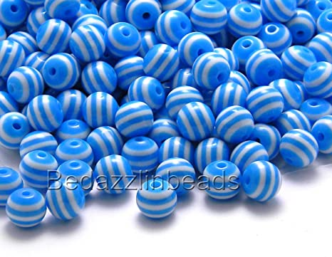 100 Rainbow Stripe 6mm Round Plastic Acrylic Resin Beads W// Opaque Striped Lines