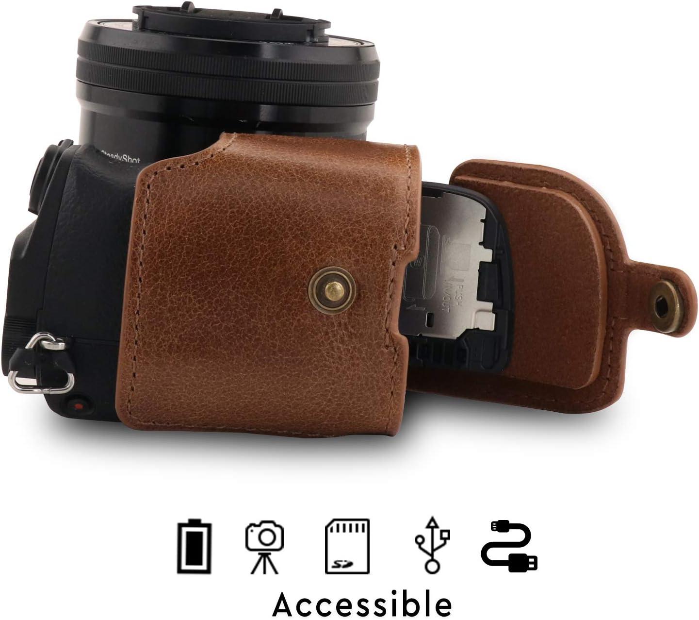 A6400 MegaGear Ever Ready Echtleder Kameratasche mit Trageriemen kompatibel mit Sony Alpha A6100