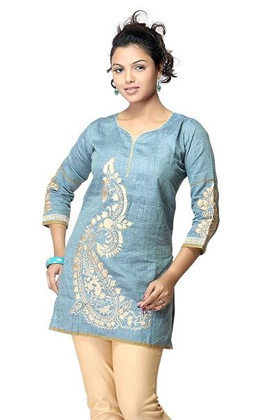 1545 Designs Mujeres camiseta azul de cielo floral / Inicio / Blusa: Amazon.es: Ropa y accesorios