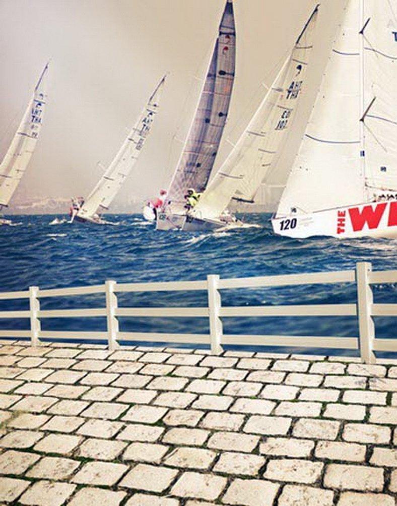 海ボート写真Backdrops写真小道具Studio背景5 x 7ft   B01GBFRI8E