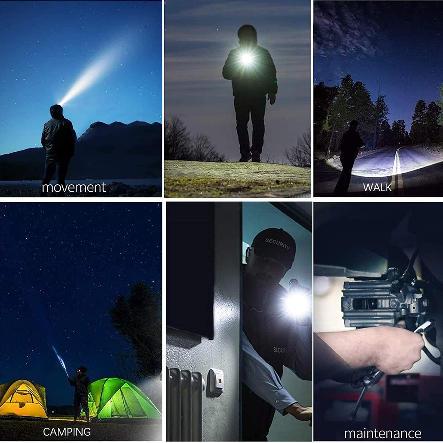 Tactical Flashlights and LED Headlamp Batteries Not Included Water Resistant Pocket Size for Indoor Outdoor Camping Emergency Dog Walking Super Bright 1200Lumen+500Lumen Flashlight Headlamp Combo