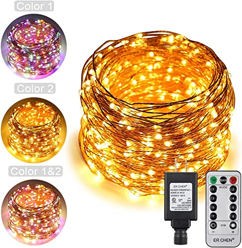 ErChen Dual-Color LED String Lights, 165 FT 500 LEDs Plug in Copper Wire 8 Modes Dimmable Fairy Lights with Remote Timer for Indoor Outdoor Christmas Multicolor Warm White