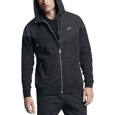 4e8b3093f NIKE Sportswear Windrunner Men's Full-Zip Hoodie (Black Heather, Medium)