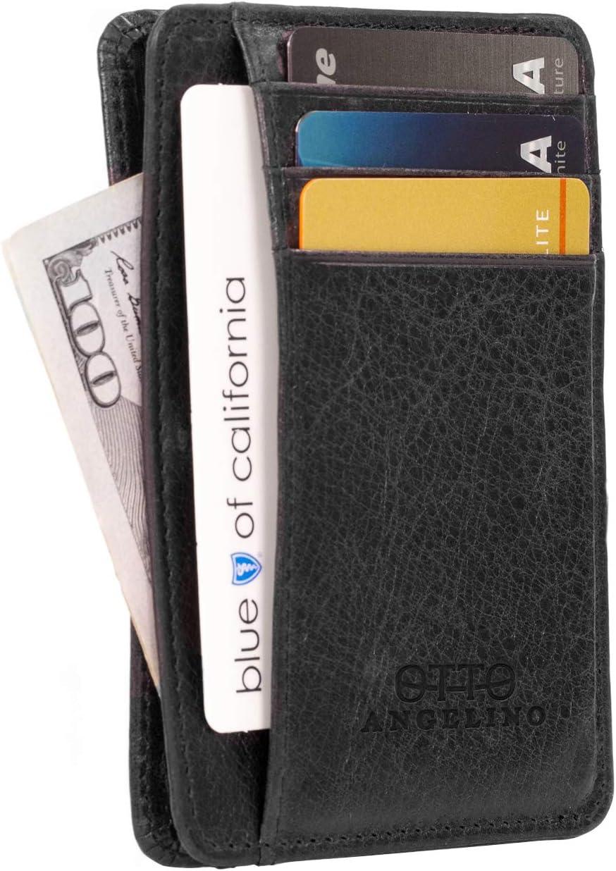 Cartera Otto Angelino con Tarjetero de Cuero Genuino Delgado para Hombres - Múltiples Ranuras para Tarjetas de Crédito, Tarjetas Débito, de Banco y de Negocios, Bloqueo DE RFID (Negro)