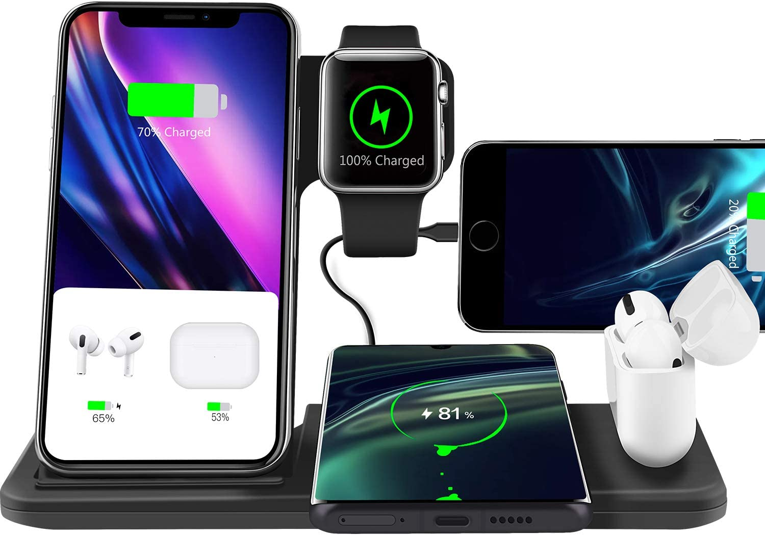 Xoopar Wireless Charger Stand, 5 in 1 Fast Wireless Charging Dock Station Compatible with Apple Watch 5 6/Airpods Pro/iPhone 11 12 Mini Pro Max SE XR X XS/iWatch/Qi-Certified Phones, 30W