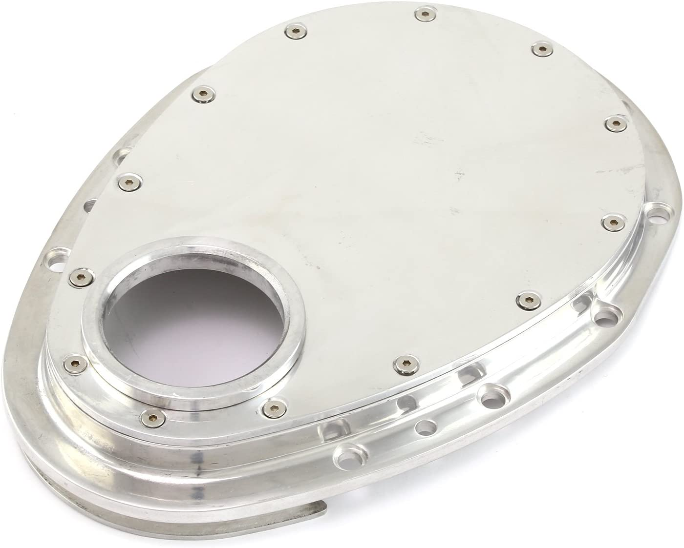 Chevy SBC 350 2-Piece Polished Aluminum Timing Chain Cover w//Inspection Plate