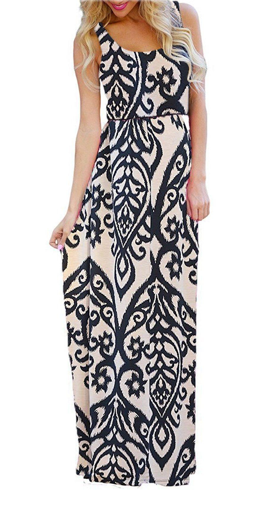 Women's Sleeveless Floral Tribal Flowy Shift Beach Maxi Long Sun Dress Khaki L