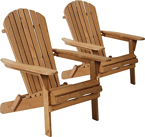 Adirondack Chair Patio Chairs Folding Adirondack Chair Lawn Chair Outdoor Chairs Set of 2 Fire Pit Chairs Patio SeatingWood Chairs for Adults Yard Garden w Natural Finish