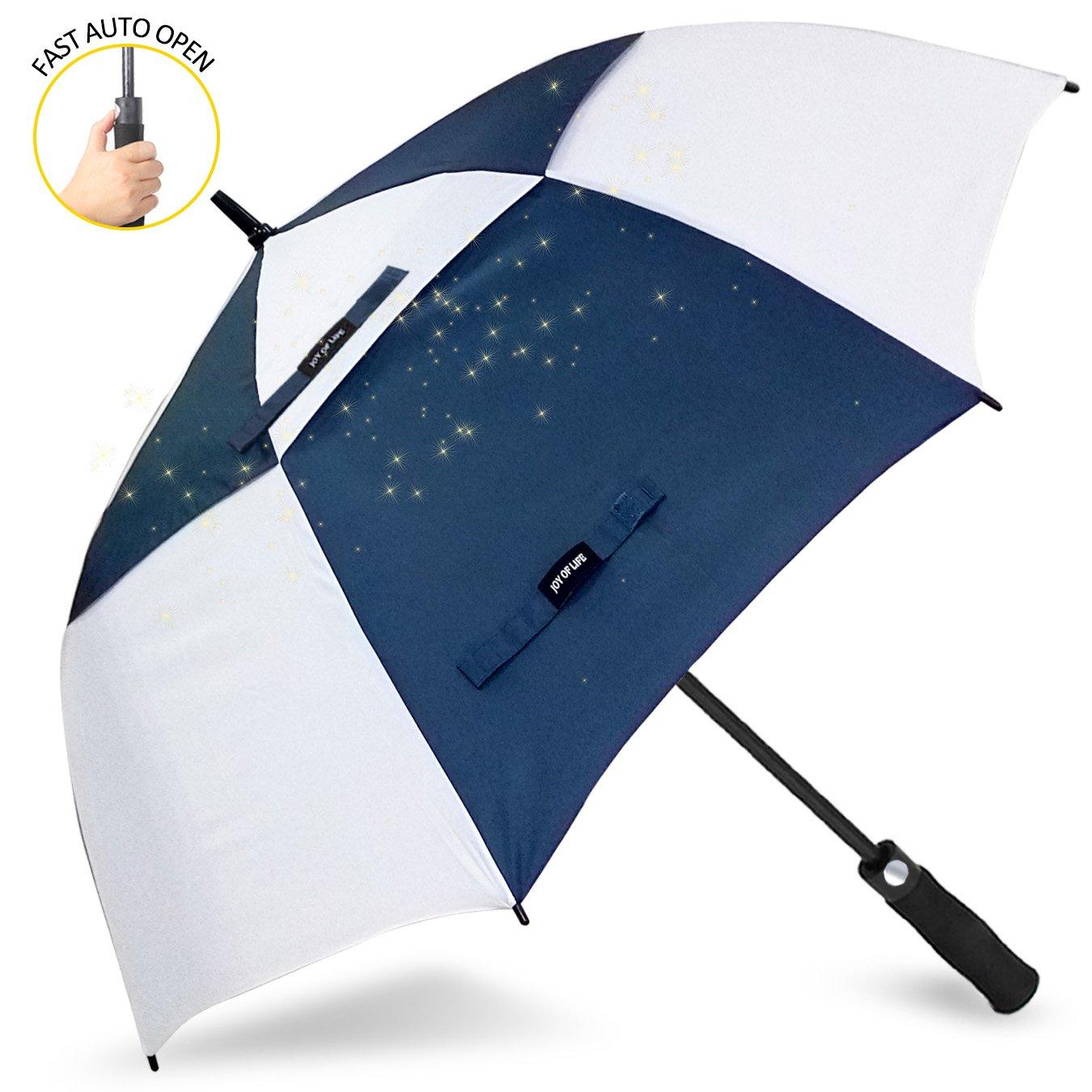 ゴルフ傘 長傘 ワンタッチ 自動開け大きな傘 100cm 梅雨対策 台風対応 ビジネス用 メンズ B078GGSLKH 傘の長さ110cm(68inches)|青/白 青/白 傘の長さ110cm(68inches)
