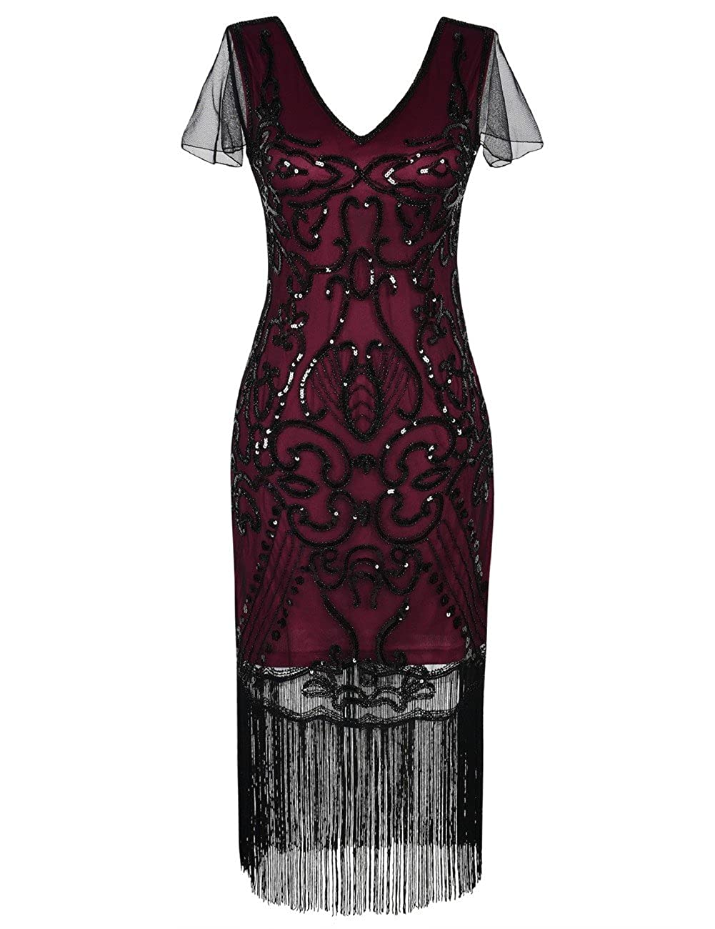 Kayamiya Damen 1920er Kleid Mit Hülse Pailletten Art Deco Cocktail ...