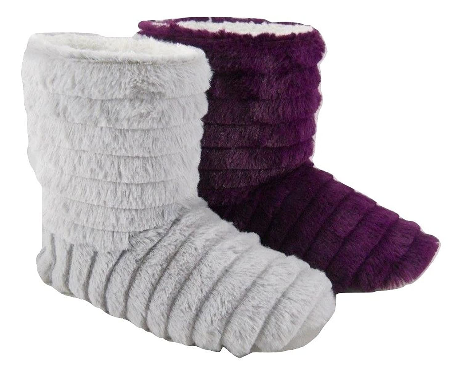 Womens Ladies Fluffy Plush Fur Boots Bootie Slippers Lilac Or Grey Size 3-8