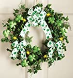 Lighted Shamrock Floral Wreath St. Patrick's Day Decoration, WREATH