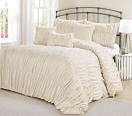 Geometric with Throw Pillows 7-Piece Chic Ruched White Bedding Comforter Set