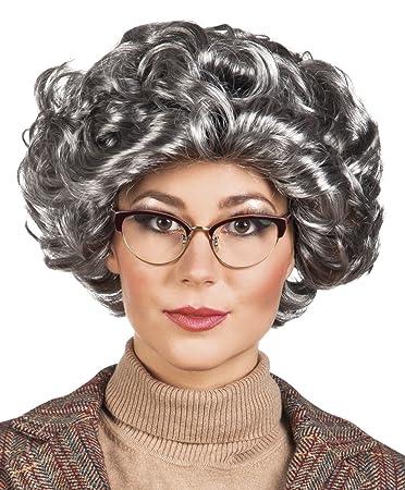 Amazon.com: Gris Británico Granny peluca Señoras disfraz ...