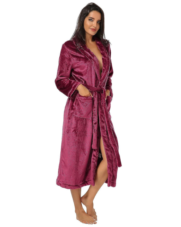 Auxo Pijamas Invierno Mujer Vestido Ropa de Dormir Pelusa Mangas Larga Correa Una Pieza Bolsillos Sólido Túnica Sleepwear Rojo Vino ES 46/Asian 2XL: ...
