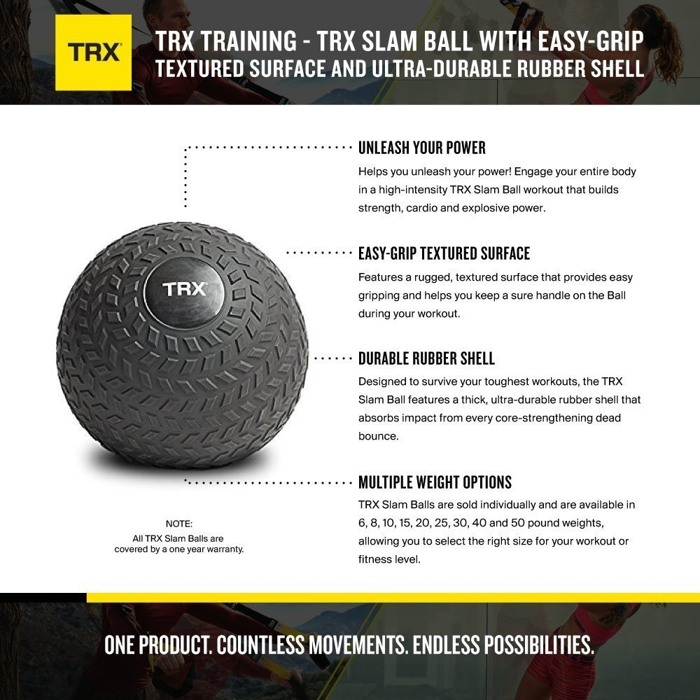 Easy Grip Tread /& Durable Rubber Shell Easy-Grip Tread /& Durable Rubber Shell 10lbs TRX Training Slam Ball