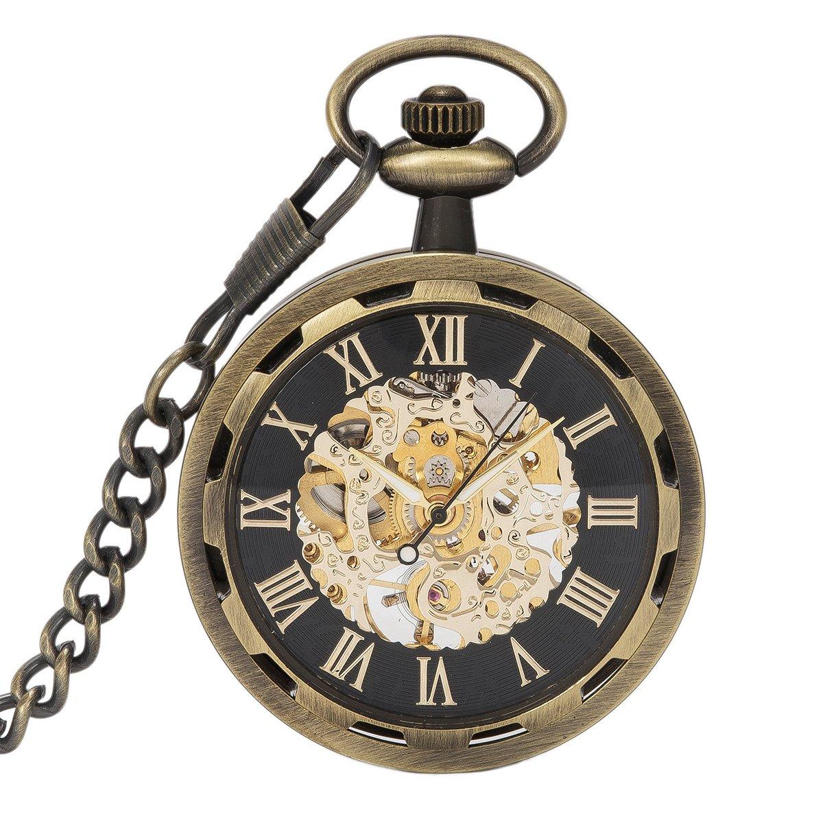 SwitchMe Men Women Skeleton Hand Winding Mechanical Watch Steampunk Open Face Pocket Watch Bronze