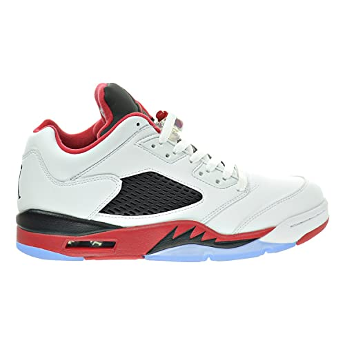 Air Jordan 5 Retro Low Men's Shoes WhiteFire RedBlack 819171 101