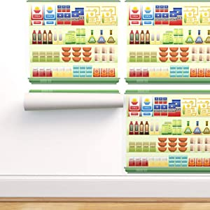Spoonflower Peel and Stick Removable Wallpaper, Food Japanese Supermarket Japan Ramen Soup Sauce Print, Self-Adhesive Wallpaper 24in x 144in Roll