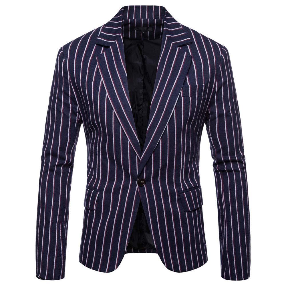 Bestoppen 2018 Fashion Men's Autumn Winter Long Sleeve Striped Suit Lapel Jacket Top Blouse for Men