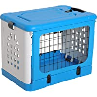 PawHut Foldable Cat Cage Flight Puppy Case Small Animal Travel Carrier Ventilation Hole w/Top Load Pet Kennel Blue