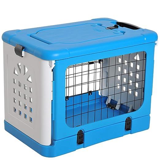 PawHut Jaula plegable para animales domésticos de plástico y acero ...