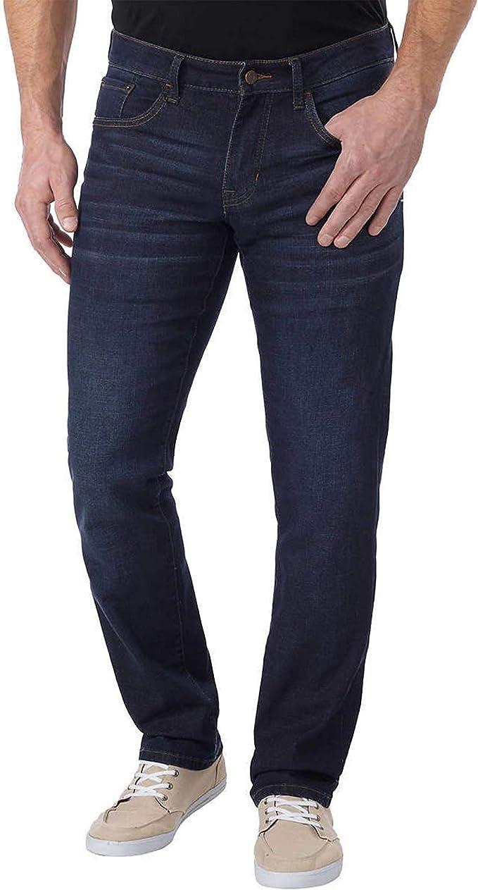 Hidden Side Expandable Waistband Jeans Regular Straight Leg Denim Trousers