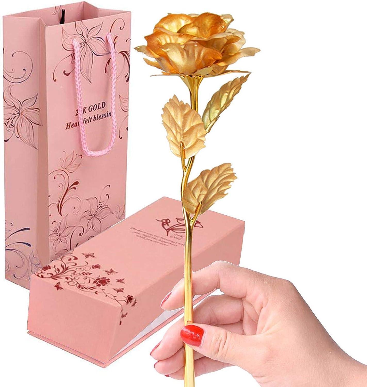Rose artificielle Pour anniversaire Pour femme ou petite amie Roses plaqu/ées or 24 carats avec bo/îte cadeau Rose en feuille dor f/ête des m/ères mariage No/ël