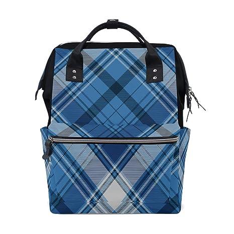 Blue Tartan Plaid Pattern Style Gran capacidad Bolsas de ...
