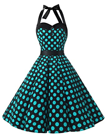 bb89fbc1e1c Dressystar Vintage Polka Dot Retro Cocktail Prom Dresses 50 s 60 s  Rockabilly Bandage Black Blue ...