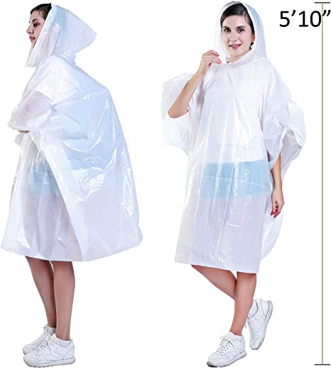 Concerts Festivals Hiking Azarxis Reusable Rain Poncho for Adults /& Kids 2 Pack Portable Clear Extra Thick Emergency Waterproof Raincoat with Drawstring Hood and Sleeves for Disney Outdoor